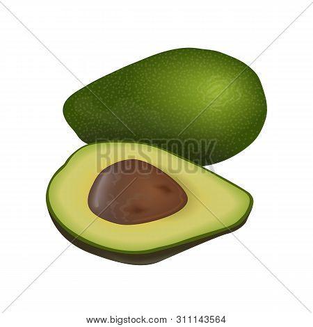 Avocado Ripe Raw Fruit. Persea Americana Whole And Halved. Seed. Juicy Flesh, Isolated