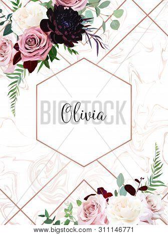 Dusty Pink, Creamy White Antique Rose, Pale Flowers, Dark Burgundy Dahlia Vector Design Wedding Fram