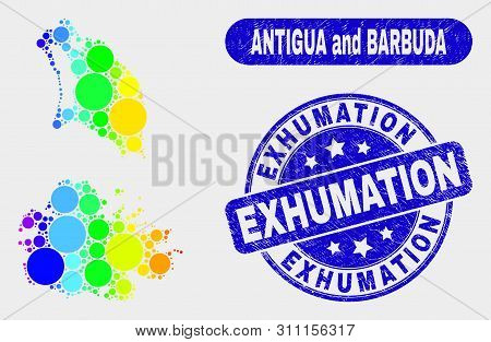 Rainbow Colored Dotted Antigua And Barbuda Map And Watermarks. Blue Rounded Exhumation Textured Seal