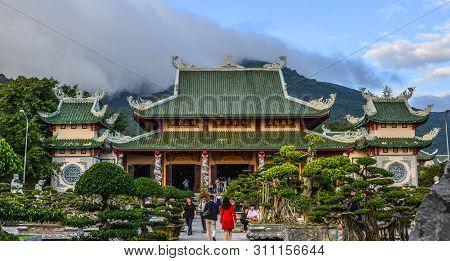 Da Nang, Vietnam - Jan 18, 2019. View Of Linh Ung Pagoda In Da Nang, Vietnam. Buddhism In Vietnam Is