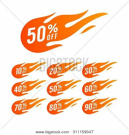 Sale Discount Banner. Discount Offer Price Tag. Special Offer Sale Hot Fire Sign, Promotion Fire Ban