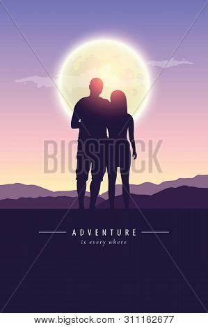 Couple In Love Silhouette By Full Moon Adventure Design Vector Illustration Eps10