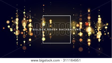 Golden Bokeh Sparkle Glitter Lights Luxury Background. Abstract Defocused Circular Party Magic Chris