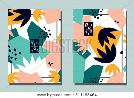 Trendy cover with graphic abstract shapes and floral leaves. Two modern vector flyers in avant-garde collage style. Geometric wallpaper for business brochure, cover design. poster