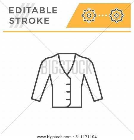 Cardigan Editable Stroke Line Icon Isolated On White. Vector Illustration