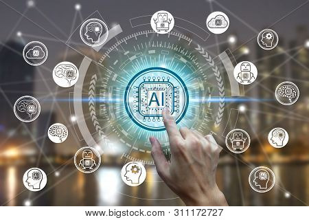 Hand Touching Virtual Screen Artificial Intelligence Technology Icon Over The Network Connection, Ar