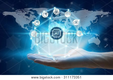 Hand Holding With Virtual Screen Artificial Intelligence Technology Icon Over The Network Connection