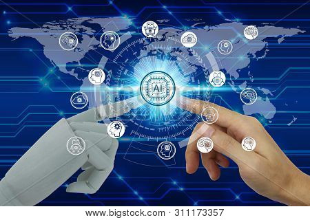 Robot And Human Hand Touching Virtual Screen Artificial Intelligence Technology Icon Over The Networ