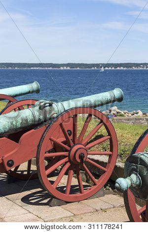 Old Cannons In Front Of Kronborg Castle On The Oresund Strait, Baltic Sea, Helsingor, Denmark