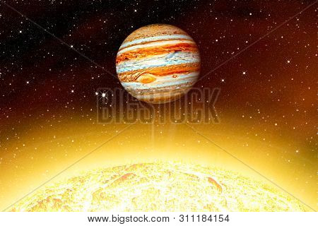 Planet Jupiter  . Star The Sun Is Close . This Image Elements Furnished By Nasa .