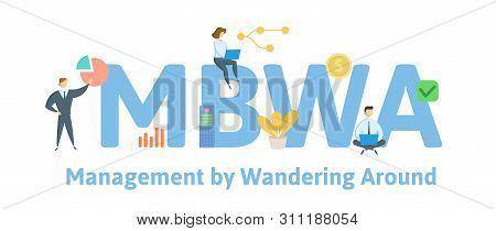 Mbwa, Management By Wandering Around. Concept With People, Letters And Icons. Flat Vector Illustrati