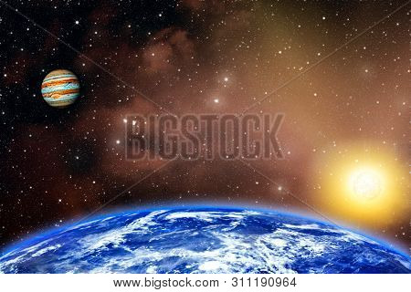 Planets Earth And Jupiter . This Image Elements Furnished By Nasa . Planet Earth And Sun . Star The