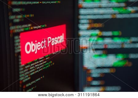Programming Language, Object Pascal Inscription On The Background Of Computer Code. Modern Digital T
