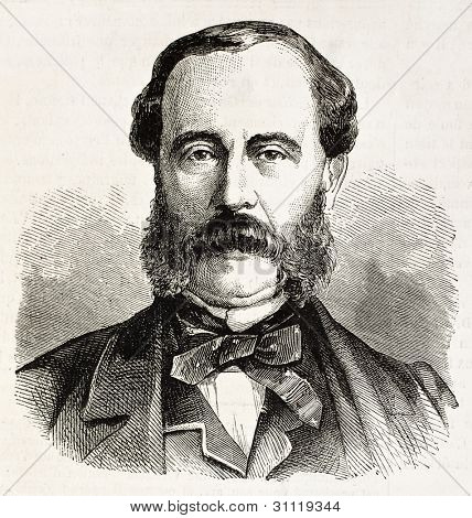 Leopold Duras old engraved portrait (French journalist). Created by Chenu, published, on L'Illustration, Journal Universel, Paris, 1863