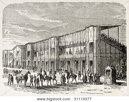 Weighing area in Vincennes racecourse, old illustration, France. Created by Gaildrau, published on L'Illustration, Journal Universel, Paris, 1863