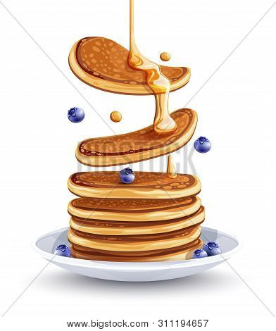 Pancakes With Blueberries On The Plate. Traditional Sweet American Breakfast With Berries, Isolated