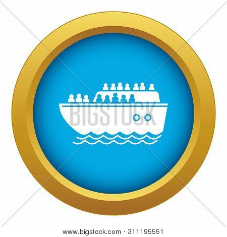 Migrant ship icon blue isolated on white background for any design poster