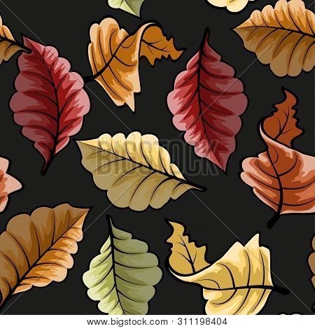 Modern Pattern With Colorful Autumn Leaves Seamless. Vector Graphic Seamless Pattern