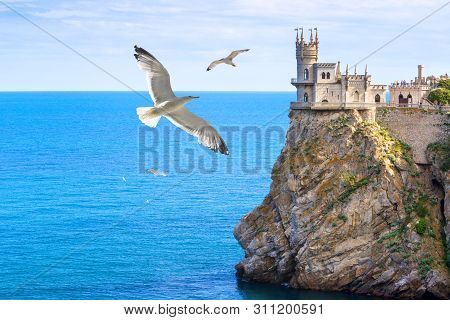 Castle Of Swallow's Nest At The Black Sea Coast, Crimea, Russia