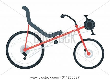 Recumbent Bike Flat Vector Illustration. Laid-back Bike. Equipment For Outdoor Activity. Road Bike,