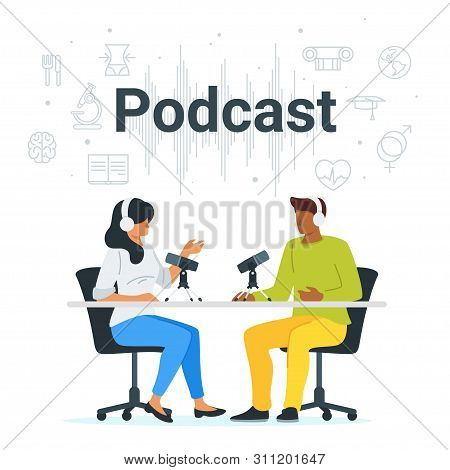 Podcast In Studio Flat Vector Illustration. Female Radio Host Interviewing Guests On Radio Station C
