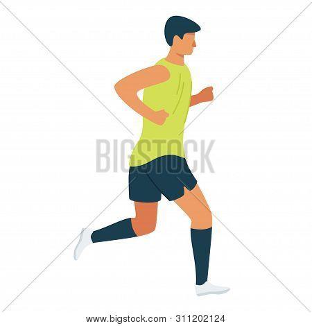 Athlete, Jogger On Morning Run Cartoon Vector Illustration. Workout Program, Fitness Routine Flat Cl