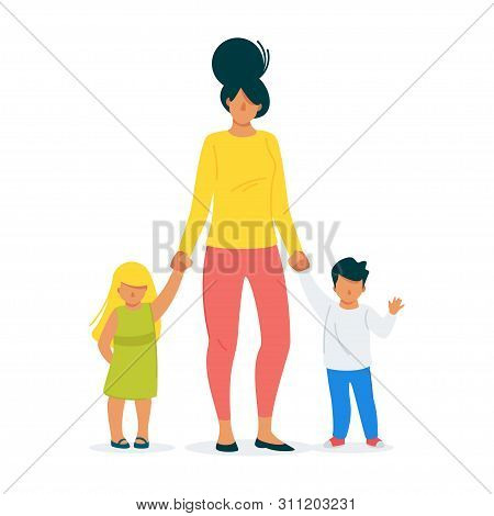 Housewife, Loving Mother And Children Cartoon Vector Illustration. Parenthood, Single Mother, Raisin