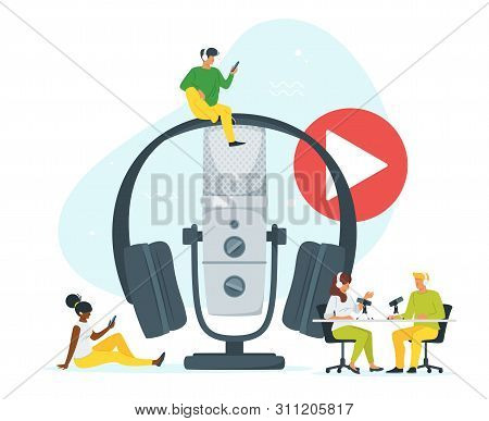 Young People In Headset Listening To Music Flat Vector Illustration. Youth In Radio Studio Recording