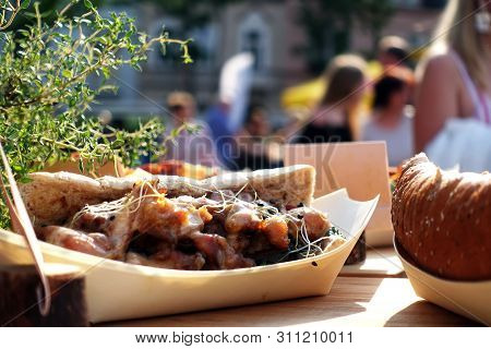 Organic Food On Street Food Festival. Spechial Food Sold On Open Kitchen Food Festival Event. Street