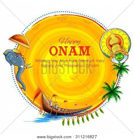 Illustration Of Snakeboat Race In Onam Celebration Background For Happy Onam Festival Of South India