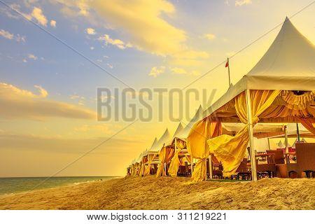 Luxurious Tents At Desert Beach Camp, Inland Sea, Khor Al Udaid In Persian Gulf, Southern Qatar. Sce