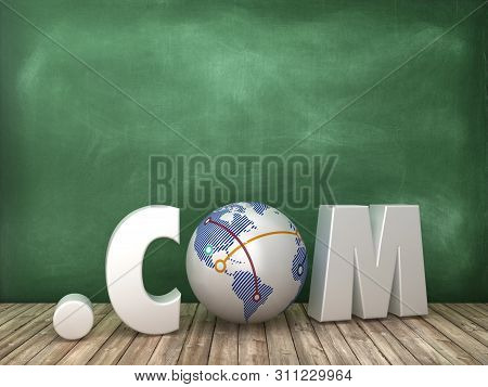 .com 3d Word With Globe World On Chalkboard Background - High Quality 3d Rendering