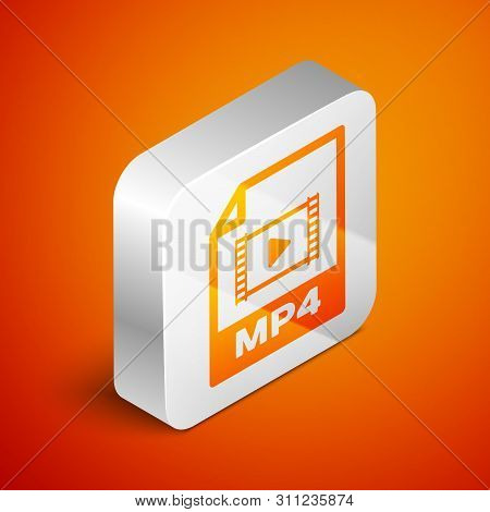 Isometric Mp4 File Document Icon. Download Mp4 Button Icon Isolated On Orange Background. Mp4 File S