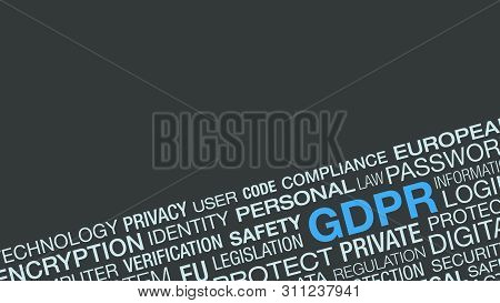 Word Cloud About General Data Protection Regulation, Gdpr Concept, Lock Data And Protecting Citizen