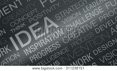Word Cloud With Keywords About The Idea And Solution Concepts (3d Render)