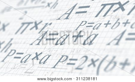 Math Formulas, Concept Of Science And Research (3d Render)