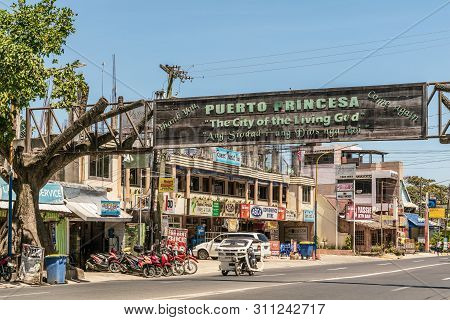 Puerto Princesa, Palawan, Philippines - March 3, 2019: Street View Of Rizal Avenue With Closeup Of W