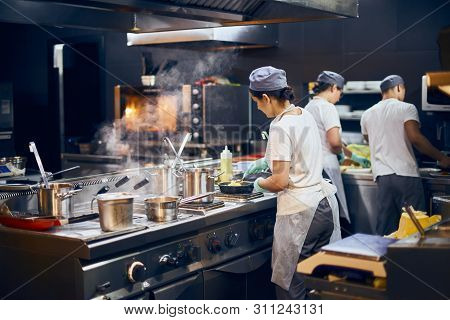 The Team Of Cooks Backs In The Work In The Modern Kitchen, The Workflow Of The Restaurant In The Kit