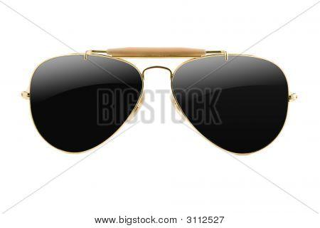 Goldframed Sunglasses Aviator Style Isolated On White