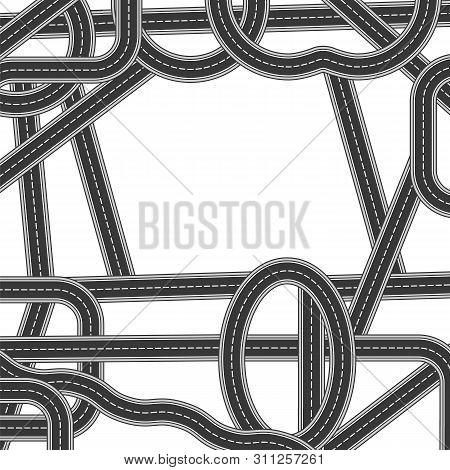 Road And Highway Elements For City Map Creation. Path Desigh For Traffic Illustration. Asphalt Traff