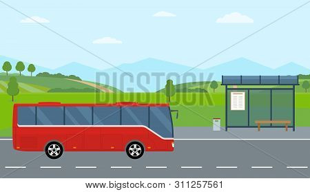 Rural Landscape With Road, Bus Stop And Moving Bus. Green Hills, Blue Sky, Meadow And Mountains. Fla