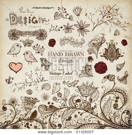 Hand Drawn floral ornaments with flowers and birds | Love elements | Engraving tree and flowers for spring and summer design | Vintage Labels