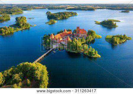 Trakai Castle In Lithuania Aerial View. Green Islands In Lake In Trakai Near Vilnius. Trakai Drone V