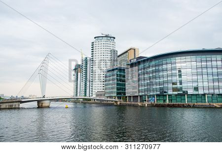 Manchester, United Kingdom - April 24, 2019: View Of Modern Architectural Buildings At The Salford Q