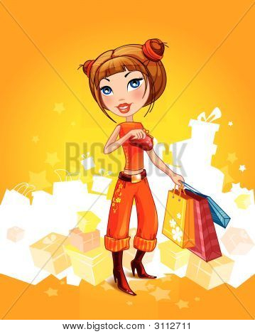 Beautiful Cartoon Girl With Shopping Bags And A Wallet