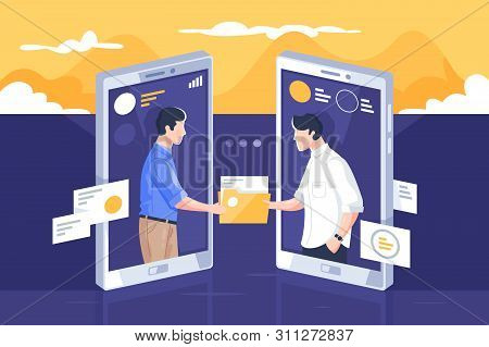 File Sharing Via Internet Illustration. People Standing Into Mobile Phone Screens And Giving Paper F