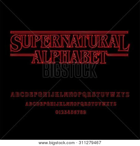 Supernatural Alphabet With Red Glowing Letters - Red Glowing Alphabet. Capital Letters, Small Caps A