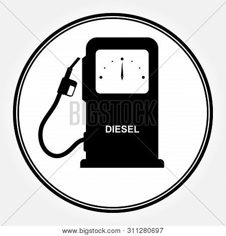 Symbol Of The Column For Filling Cars With Diesel Fuel. Flat Icon That Says Diesel. Icon Of Automati