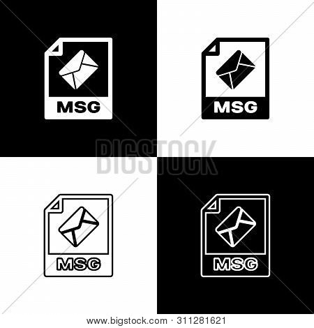 Set Msg File Document Icon. Download Msg Button Icons Isolated On Black And White Background. Msg Fi