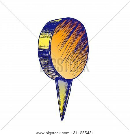 Stationery Thumbtack With Circle Flat Top . Thumbtack Office Element Attach And Fixation Paper Stick